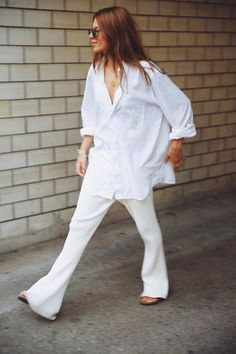 All White | Relaxed | Undone | Whites | Style | outfit | Street Style | HarperandHarley