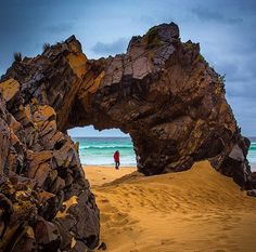 Natural Rock Arch on Bruny Island The Absolute BEST Things to do in Tasmania (top Perth, Brisbane, Melbourne, Tasmania Road Trip, Tasmania Travel, Coast Australia, Australia Travel, The Places Youll Go, Places To See