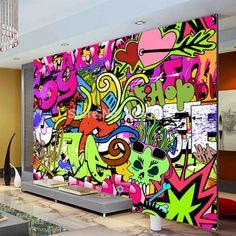 Graffiti Urban Art Wallpaper Mural, Custom Sizes Available