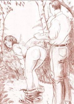 Looking back in trepidation as he approaches with a freshly cut switch to use on her bared bottom.