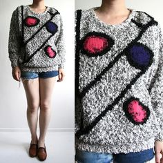 VINTAGE 80S OVERSIZED GLITZY ABSTRACT PATTERN KNITTED JUMPER