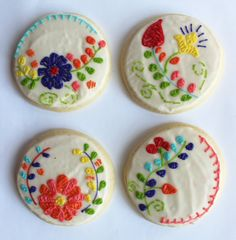 These beautiful floral embroidery cookies were inspired by the embroidery found on the Mexican embroidered sun dresses that are so popular right now. This originally was a custom order for a birthday party, but they would be so beautiful used as favors for a wedding, wedding shower,