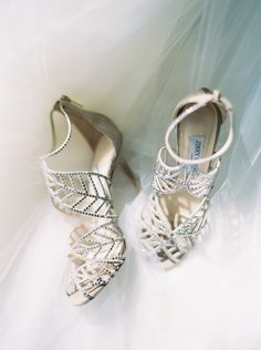 Photography : Greer Gattuso | Shoes : Jimmy Choo Read More on SMP: http://www.stylemepretty.com/2016/03/15/neutral-elegant-outdoor-wedding-inspiration/