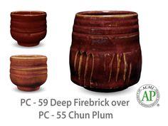 AMACO Potter's Choice layered glazes PC-55 Chun Plum and PC-59 Deep Firebrick.