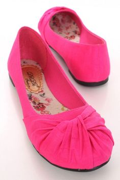 2407518a9c6 Fuchsia Fabric Twisted Knotted Vamp Round Closed Toe Flats   Sexy Clubwear
