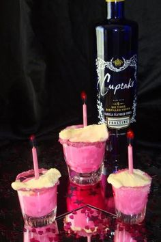  Cupcake Frosting Vodka PINK Layer Cake Shots, With A Side Of Ice Cream!! #BIRTHDAY #SHOTS