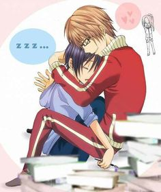 Mashiro sleeping between Takagi's legs whose sitting on the desk with one hand on his neck and the other on his back