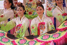 Entertainment at a  traditional Korean wedding.