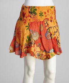 Take a look at this Orange Floral Shirred Skirt by Coline USA on #zulily today!