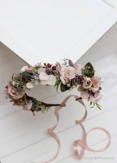 Dusty rose beige mauve flower crown Floral headband Bridal