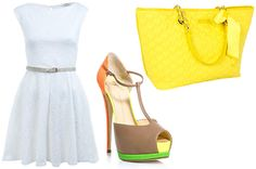 For the office  A neon dress may be a little too crazy for an office setting, so keep your main ensemble simple with a sophisticated white dress, and add pops of neon green in your accessories. Subtle, yet super stylish.