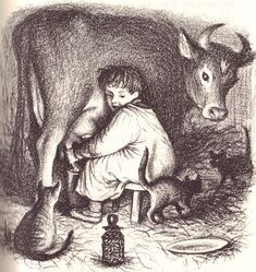 Garth Williams' illustration of Almanzo milking the cows in Farmer Boy. You can feel the glow of the lantern and sensing the impatience of the barn cats awaiting warm, fresh milk.