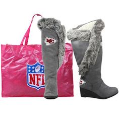 Kansas City Chiefs Ladies Charcoal Team Supporter Knee-High Boots