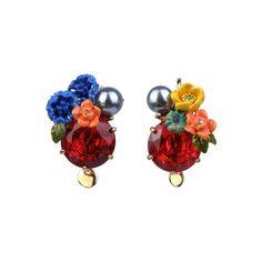 Les Nereides Asymmetric red stone earrings Love Persimmon