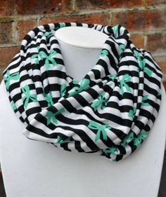 Tiffany Blue Bows on Black and White Striped Infinity Scarf on Etsy, $15.00