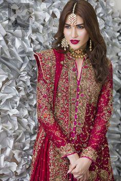 Crimson A-line shirt adorned with beautiful neckline, stripes and hemline. Matching dupatta having embellished border on four sides. Pakistani Formal Dresses, Pakistani Wedding Outfits, Indian Bridal Lehenga, Pakistani Wedding Dresses, Pakistani Dress Design, Bridal Outfits, Indian Dresses, Indian Outfits, Pakistani Mehndi Dress