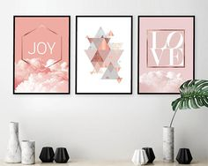 Trending Art Pink and Copper Printable Set of 3 Downloadable