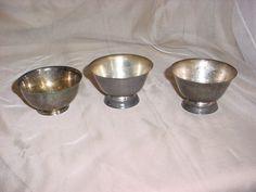 Decorative Silver Metal Dish Bowl Castle Feast Gear 4 inch Tarnished LOT of 3 Seller florasgarden on ebay