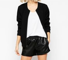 IN EDEN NOW - Our Selected Femme reversible bomber jacket - (black side shown here) Black Bomber Jacket, Black Side, Short Dresses, Spring Summer, Chic, Sweaters, Jackets, Style, Fashion