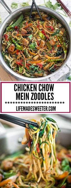 Skinny Chicken Chow Mein Zucchini Noodles (ZOODLES) is the perfect easy weeknight meal. Best of all, takes less than 30 minutes to make in just ONE PAN POT with less dishes to wash. A healthy and flavorful meal that is so much better than takeout! Zoodle Recipes, Spiralizer Recipes, Veggie Recipes, Asian Recipes, Low Carb Recipes, Chicken Recipes, Cooking Recipes, Healthy Recipes, Zucchini Noodle Recipes