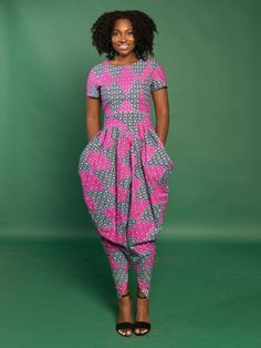 Pinky Harem Jumpsuit ~DKK ~African fashion, Ankara, kitenge, African women dresses, African prints, African men's fashion, Nigerian style, Ghanaian fashion.