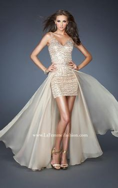 { 18906 | La Femme Fashion 2013 }  La Femme Prom Dresses - Nude - Sequins - High Low Dress - Low Back