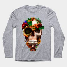 Sugar skull with Butterfly  Long Sleeve T-Shirt #teepublic #tee #tshirt #longsleeve #clothing #halloween #mexicosugarskull #mexicoskull #dayofdead #mexicanart #muertes #diadelosmuertos #indian #native #nativeamerican #owl #pattern #skull #sugarskull #owls #chief #indianchief #flower #floral #roses #daisy #thedayofthedead