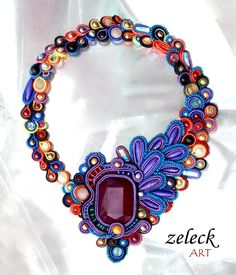 soutache inspiration: necklace by zeleck on deviantART Quilling Jewelry, Bead Jewellery, Jewelry Crafts, Jewelry Art, Beaded Jewelry, Jewelry Design, Jewlery, Soutache Pendant, Soutache Necklace