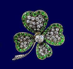 Antique Demantoid and Diamond clover Brooch , England Gemstone Brooch, Diamond Brooch, Mourning Jewelry, European Cut Diamonds, Four Leaf Clover, Crown Jewels, Rose Cut Diamond, Flower Brooch, Fine Jewelry