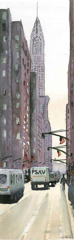 Acuarela calle de New York con el edificio Chrysler al fondo. Chrysler Building, Nativity Scenes, Street, Buildings, Sketches, Watercolor Painting, Drawings