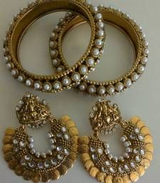 Buy Designer Ram Leela Earings with Traditional Bangles bangles-and-bracelet online