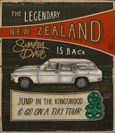 New Zealand Art Print News: Jason Kelly's Kiwiana art print series Holden Kingswood, New Zealand Art, Nz Art, Kiwiana, All Things New, Travel Posters, Vintage Posters, In This World, Growing Up