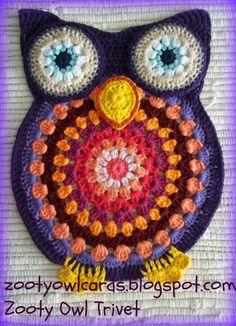 Zooty Owl Trivet Hot Pad FREE Crochet Pattern