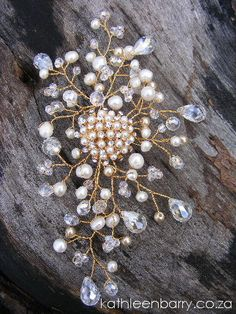 Leachen Hair Piece   Crystal & Pearl by KathleenBarryJewelry