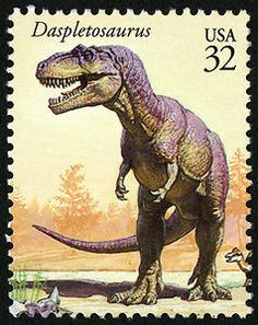 """A close relative of the T. Rex, the Daspletosaurus is literally a """"frightful lizard""""! Copyright United States Postal Service. All rights reserved."""