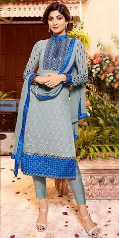 Lovable Grey And Blue Georgette Salwar Suit.