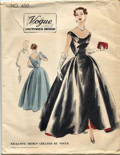 VCD 650 Ball Gown Evening Dress 1951 Sz16/34 FF Unprinted Precut+tag Env Good edge wear, tear creases slight discoloration sld 69.76+2.75 14bds 12/22/15