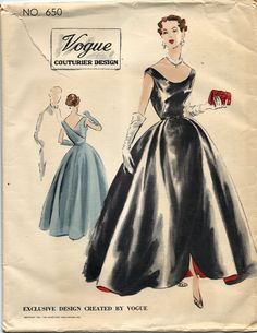 VCD 650 Ball Gown Evening Dress 1951 Sz16/34 FF Unprinted Precut+tag Env Good edge wear, tear creases slight discoloration sld 69.76+2.75 14bds 12/22/15