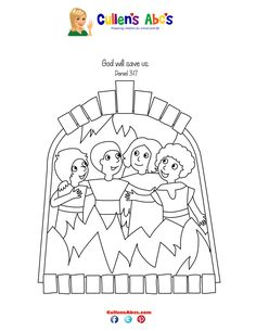 free printable coloring image Shadrach, Meshach, and