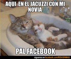 Foto para Facebook: Con la novia en un jacuzzi.