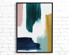 Excited to share this item from my shop: Abstract Painting Featuring Teal, Mustard, Navy Blue and Blush Pink Brush Strokes, Contemporary Printable Wall Art, Teal Decor Abstract Art Contemporary Wall Art, Modern Art, Diy Wall Art, Diy Art, Extra Large Wall Art, Printable Wall Art, Art Inspo, Art Projects, Abstract Art