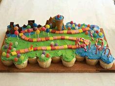 Fantasyland Pull Apart Cupcakes, ok suzanne i see a train set like this Pull Apart Cupcake Cake, Pull Apart Cake, Cupcake Birthday Cake, Cupcake Cakes, Cup Cakes, Lollipop Cake, Candy Land Cupcakes, Candy Cakes, Candy Land Theme