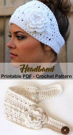 Make a flower headband. Headband Crochet Patterns – Great Ear Warmers - A More Crafty Life Make a flower headband. Headband Crochet Patterns – Great Ear Warmers - A More Crafty Life Bandeau Crochet, Crochet Headband Free, Crochet Beanie, Crochet Baby, Crochet Flower Headbands, Headband Flowers, Knit Hats, Sewing Baby Clothes, Crochet Clothes