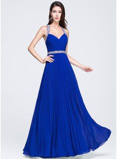 A-Line/Princess Sweetheart Floor-Length Chiffon Prom Dress With Ruffle Beading Sequins Pleated (018070357)