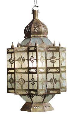 Moroccan Brass & Glass Lantern on Chairish.com