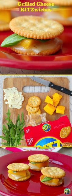 Grilled cheese is a classic sandwich. Try our RITZ cracker Grilled Cheese Bites for a snack-sized version! Top RITZ original crackers with slices of natural pepper Jack cheese and bake until melted. Add a piece of mango and an arugula leaf, covering with another RITZ. Yum!