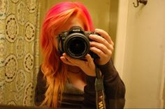 This what my hair turned out after attempting a pink and blonde ombré Pink And Orange Hair, Yellow Hair, Different Hairstyles, Cool Hairstyles, Hair Inspo, Hair Inspiration, Girls With Cameras, Scene Kids, Tumblr