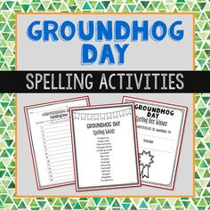 Make spelling fun with this Groundhog Day themed spelling list, vocabulary activities, class spelling bee game, and winner(s) certificate. Spelling words: prediction, hibernate, Pennsylvania, temperature, underground, foretell, burrow, climate, emerge, ominous, forecast, retreat, rodent, weather, conditions