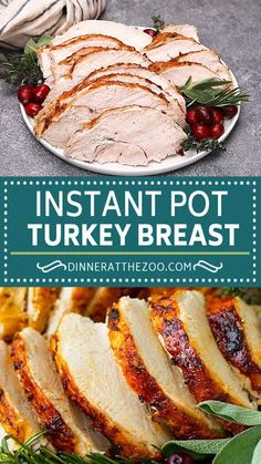 This Instant Pot turkey breast is seasoned with butter, garlic and herbs, then pressure cooked to tender and juicy perfection. A super easy way to prepare a holiday main course that's sure to get rave reviews. Pressure Cooker Turkey, Instant Pot Pressure Cooker, Pressure Cooker Recipes, Pressure Cooking, Entree Recipes, Lunch Recipes, Easy Dinner Recipes, Cooking A Frozen Turkey, Leftover Turkey Recipes