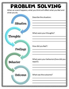 Problem Solving Worksheet from Kids Understanding Divorce Or Separation small group curriculum.